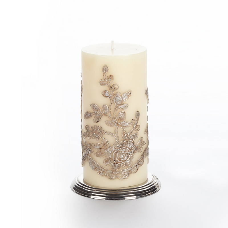 Et Al Designs Lace Pillar Candle, Antique Silver
