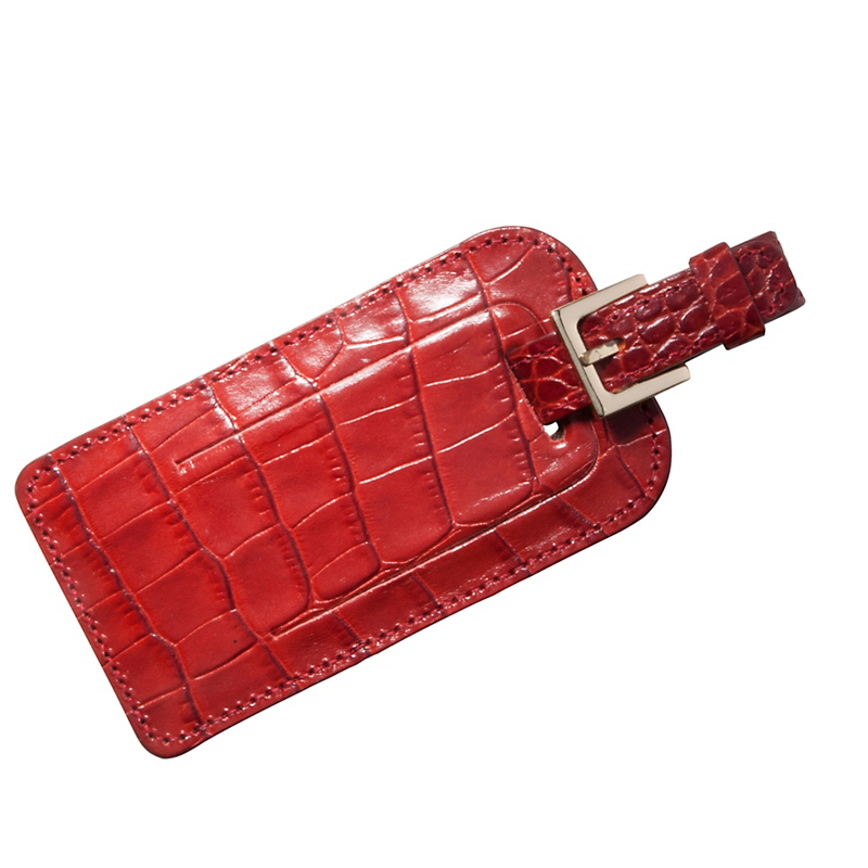 Croc-Embossed Leather Luggage Tag, Red