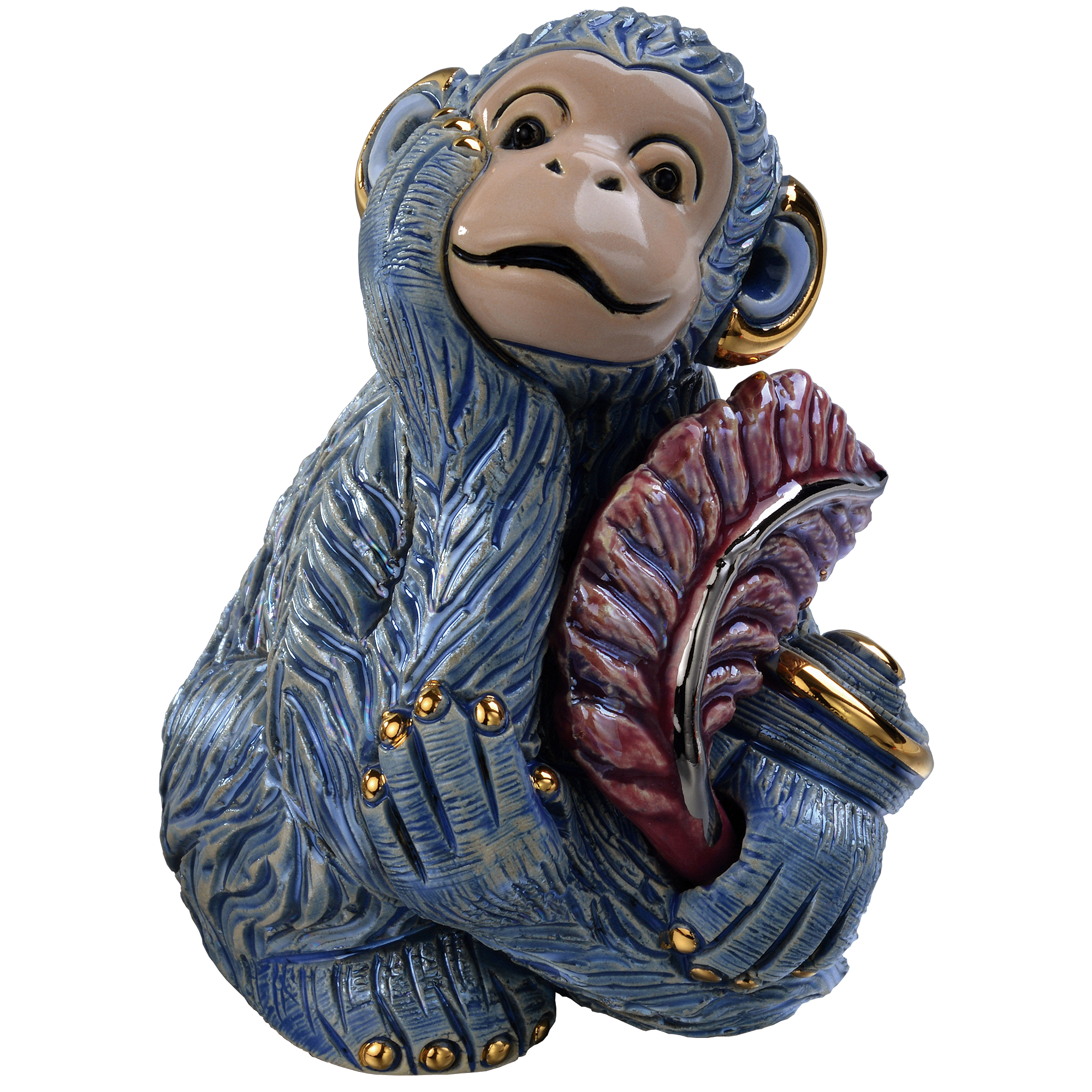 De Rosa Baby Monkey With Leaf Figure