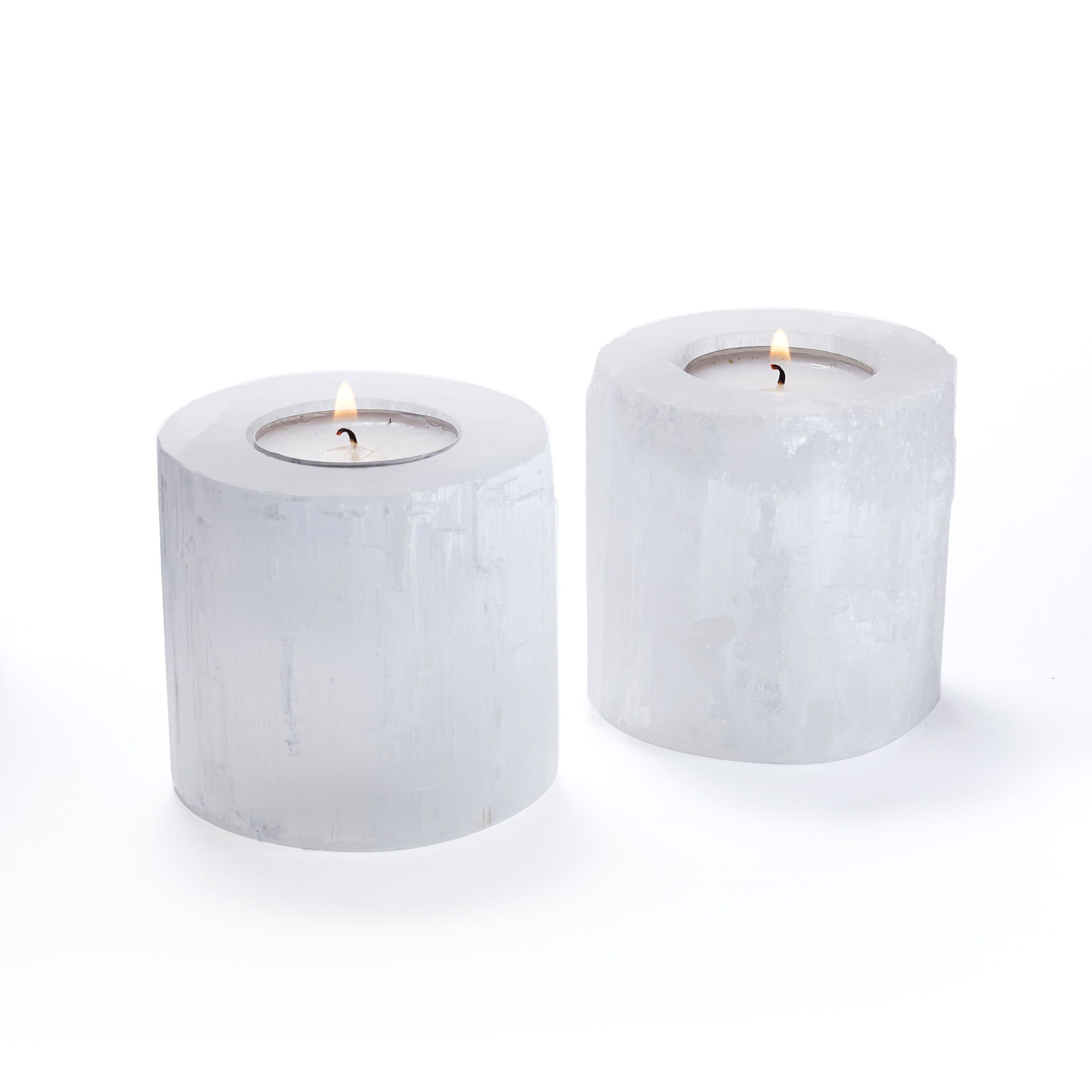 Selanite Tealight Holders, Set of 2