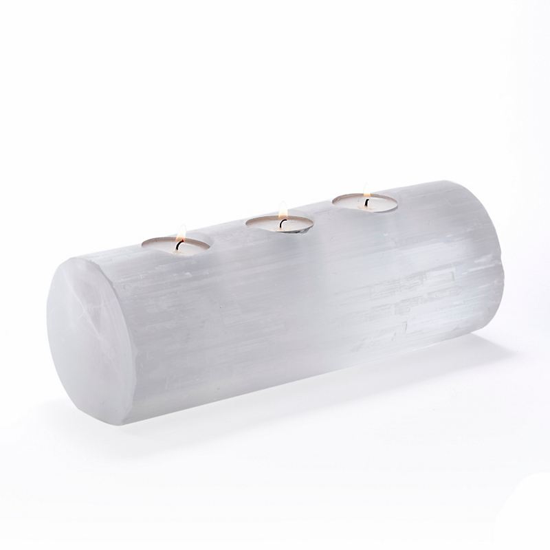 Selanite Three Tealight Log