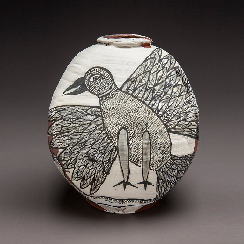 Cappy Thompson & Dick Weiss Gond Bird and Snake Vessel