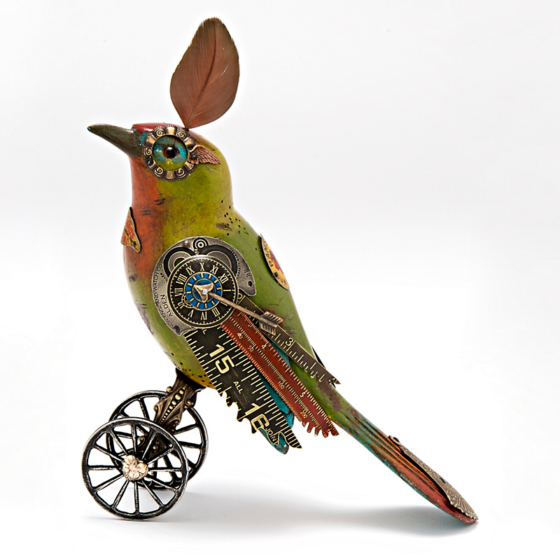 Mullanium Jewelry Green Bird On Wheels