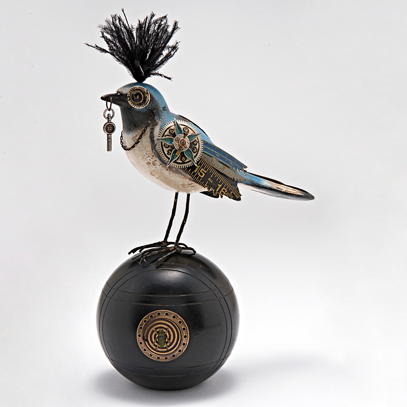 Mullanium Jewelry Blue Bird On Ball