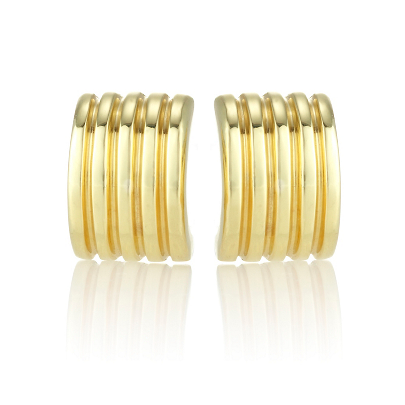 Gold Fluted Cuff Earrings