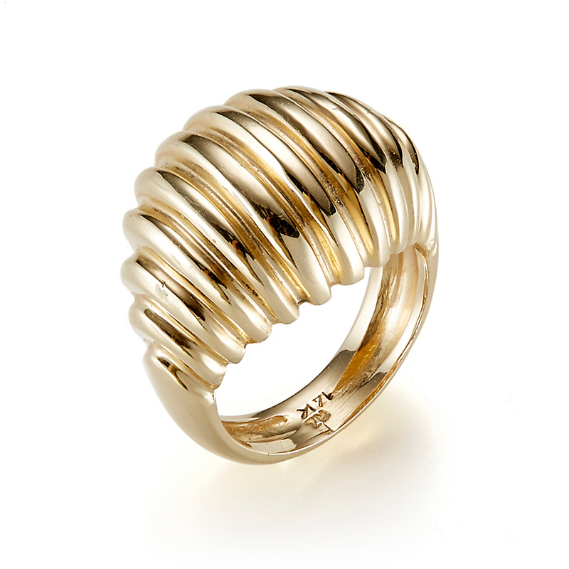 Ridged Dome Gold Ring