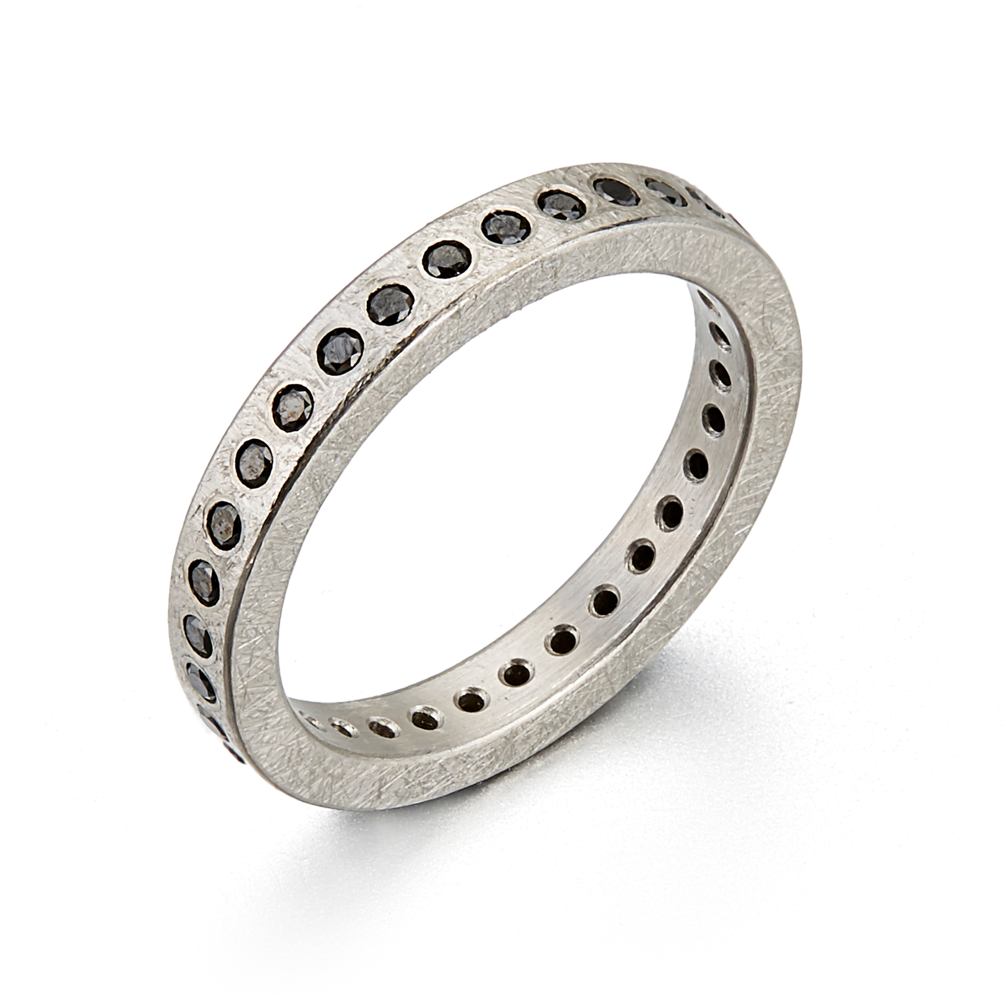 Todd Reed Flush Set Black Diamond Palladium Eternity Band Ring