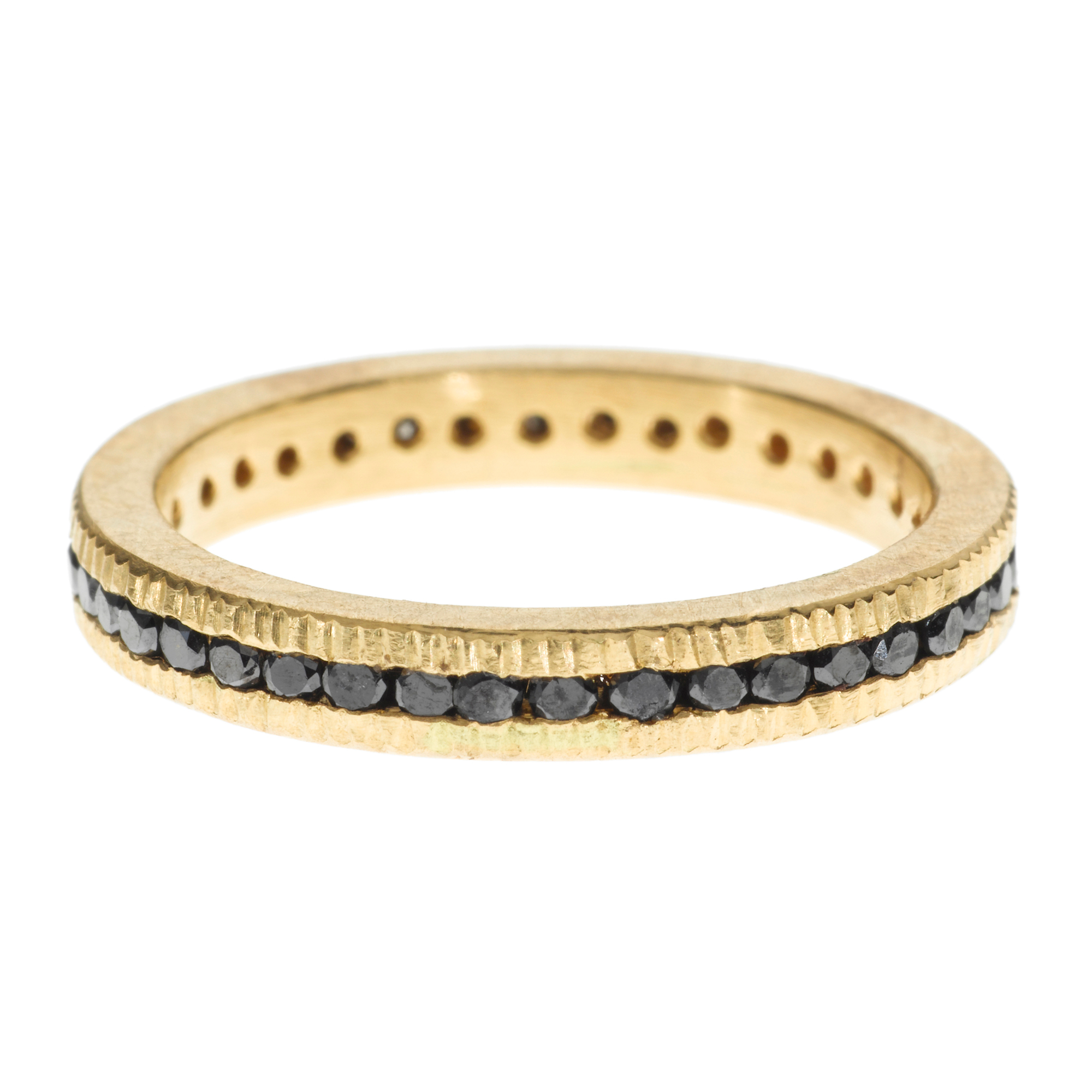 Todd Reed Channel Set Black Diamond Gold Eternity Band