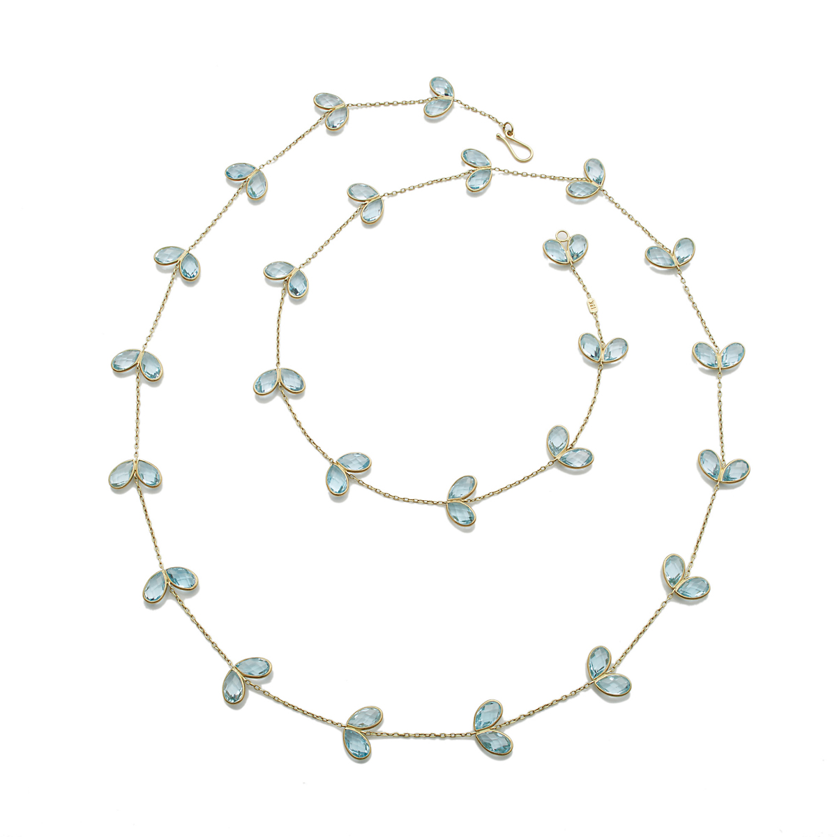 Kothari Two Petal Blue Topaz Necklace