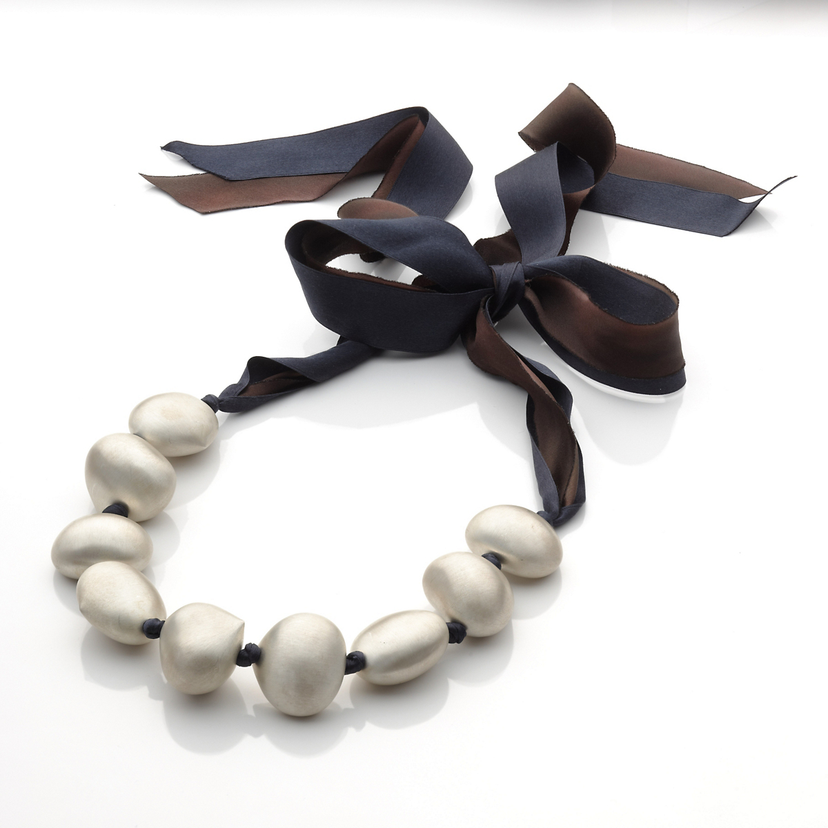 Gabriella Kiss Silver Chestnut Ribbon Necklace