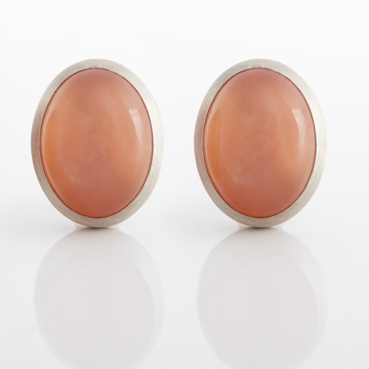 Gump's Peach Moonstone & Matte Silver Earrings