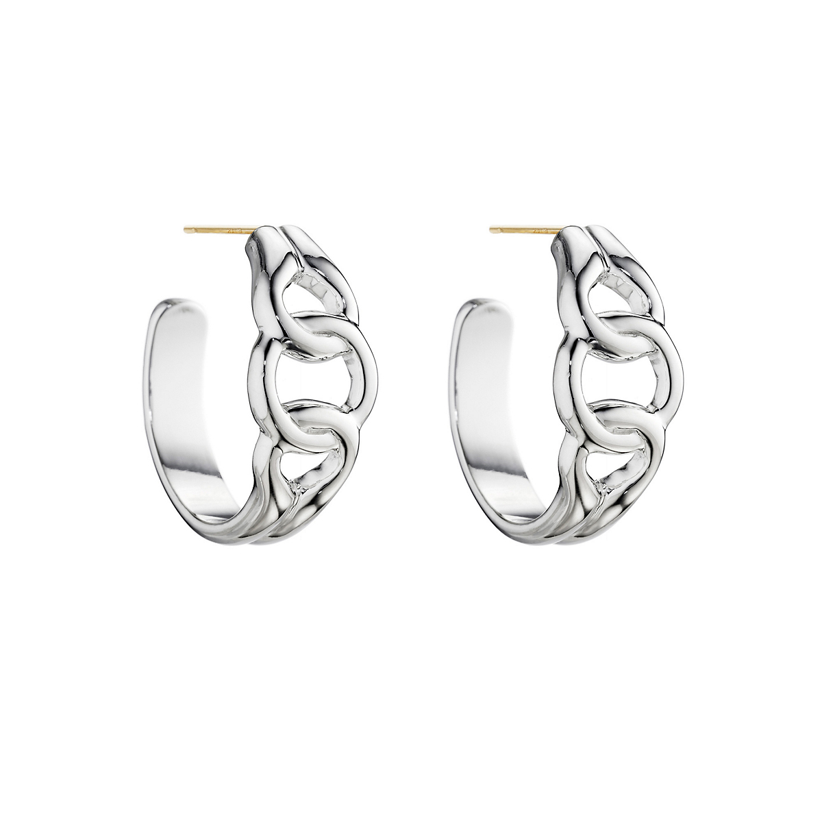 Sterling Silver Partial Curb Link Hoop Earrings