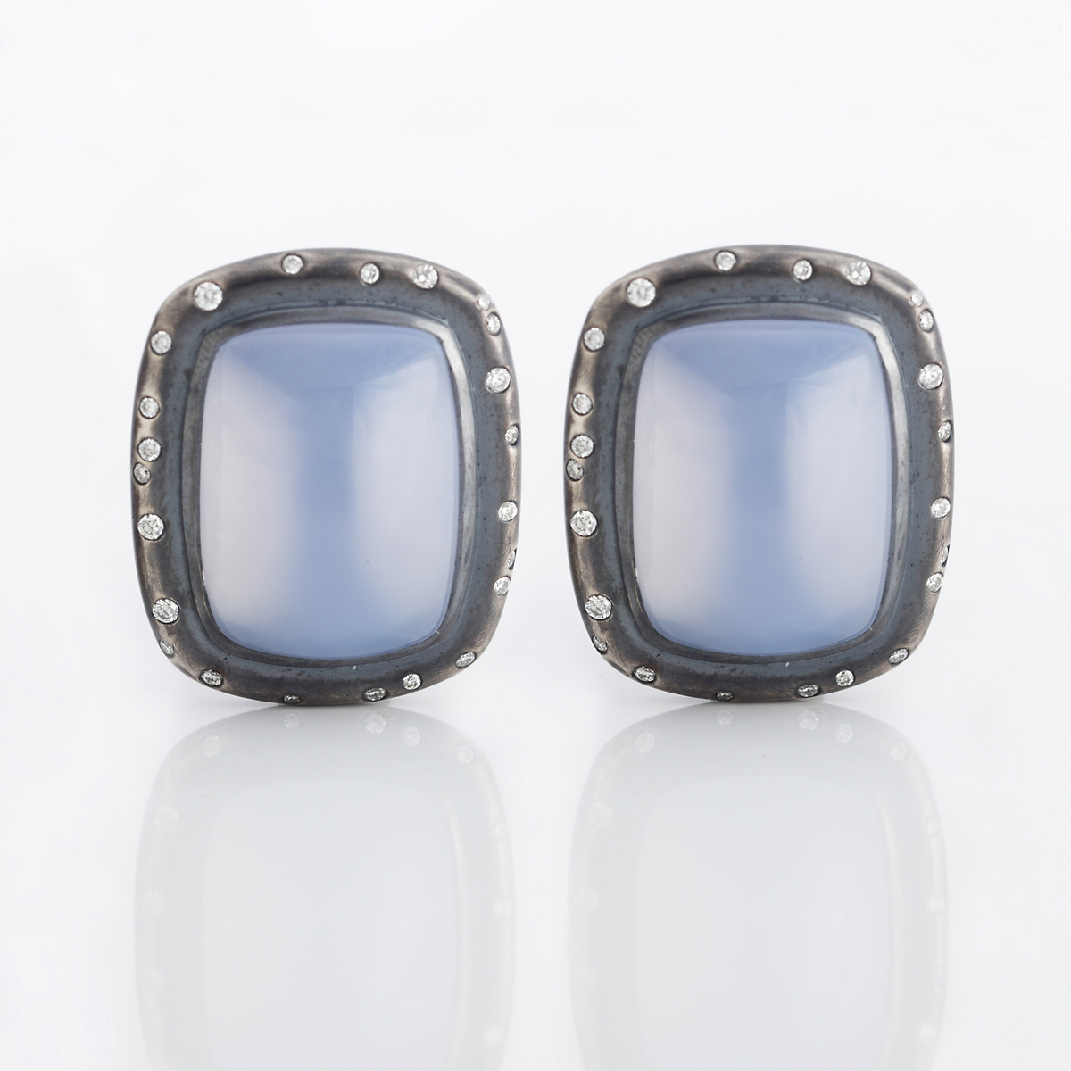 Gump's Chalcedony & Diamond Oxidized Silver Earrings