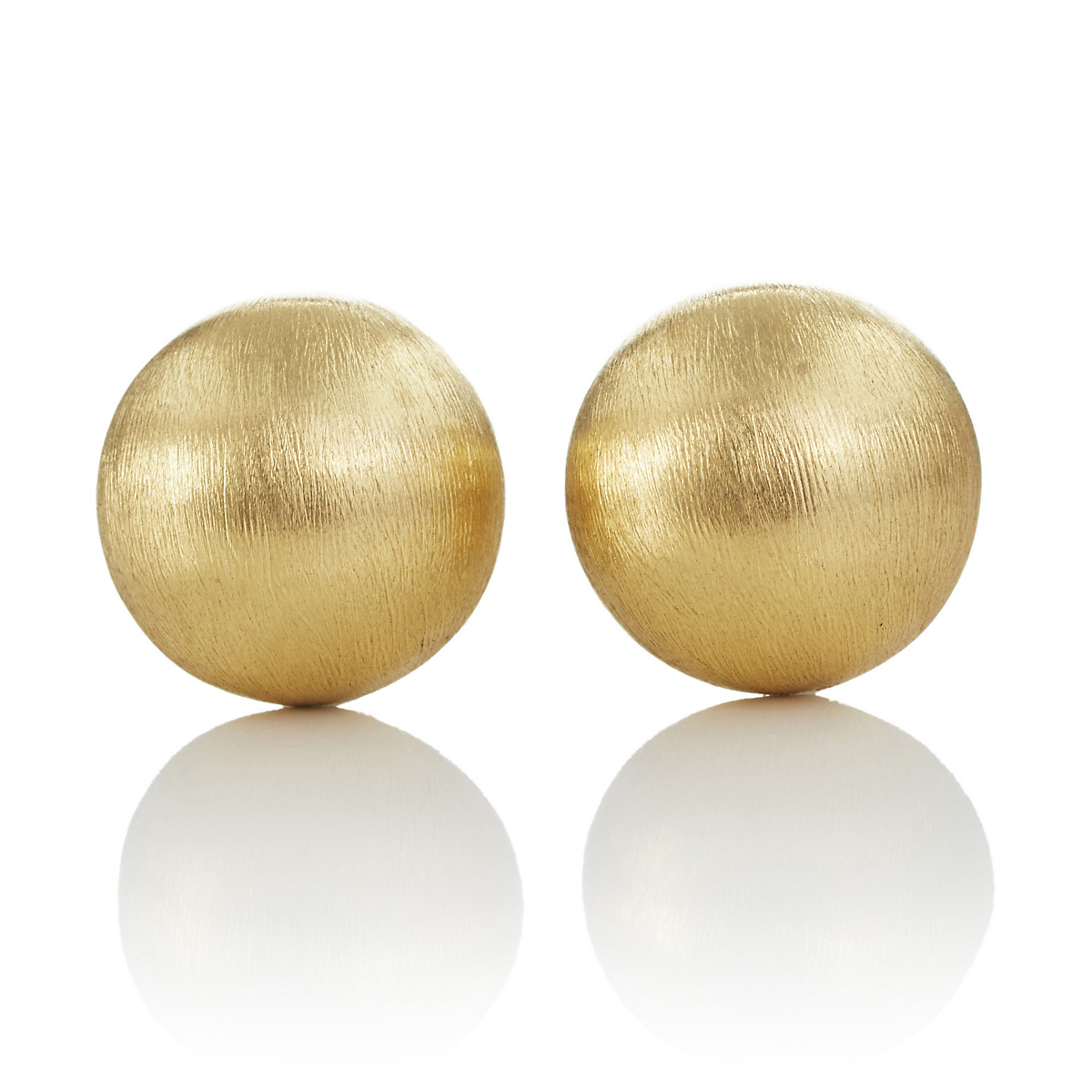 Large Dome Brushed Gold Earrings