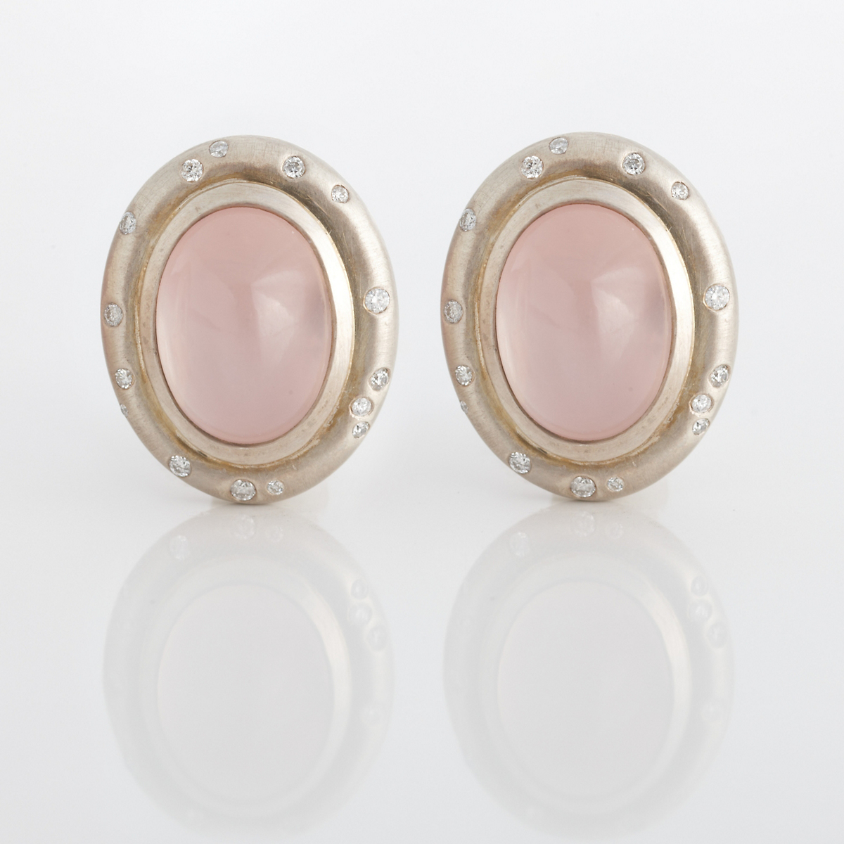 Gump's Rose Quartz & Diamond Matte Silver Earrings