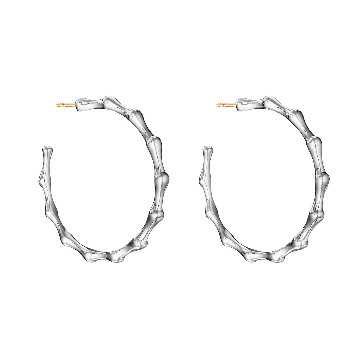 Sterling Silver Bamboo Large Hoop Earrings