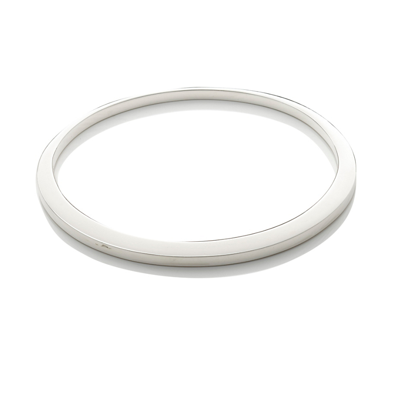 Sterling Silver Asymmetrical Round Bangle