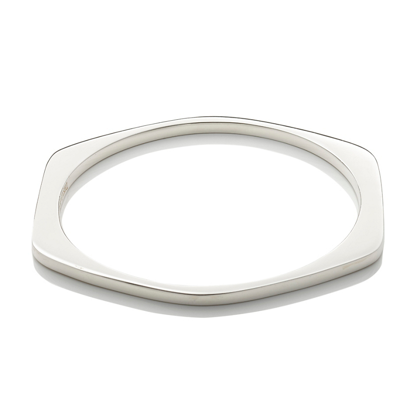 Sterling Silver Asymmetrical Square Bangle