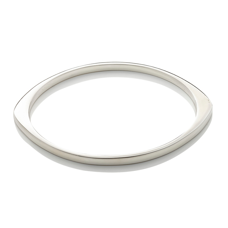 Sterling Silver Asymmetrical Oval Bangle