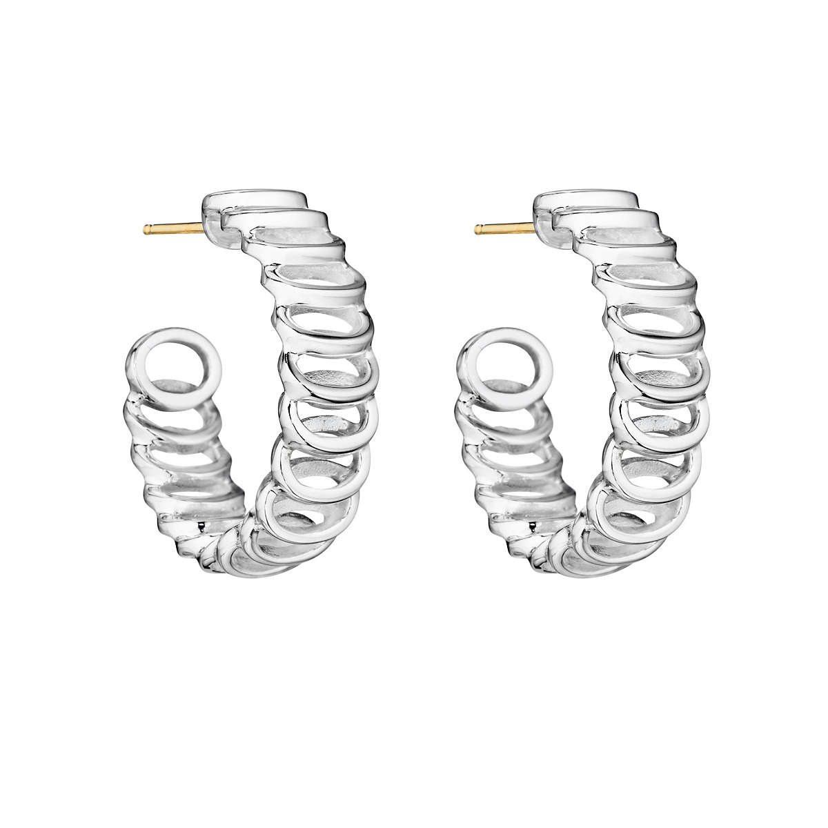 Sterling Silver Oval Swirl Hoop Earrings