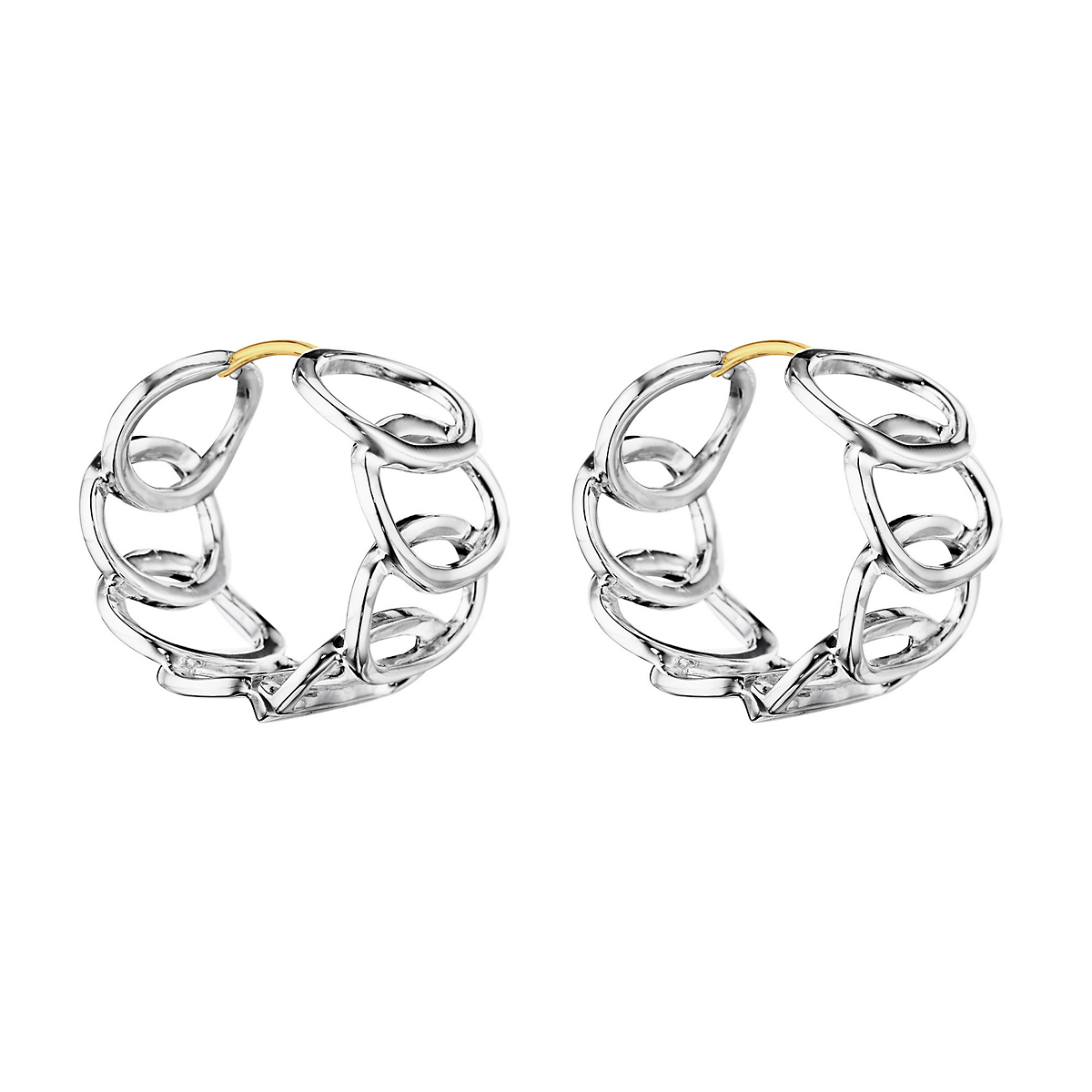 Sterling Silver Interlocking Oval Hoop Earrings