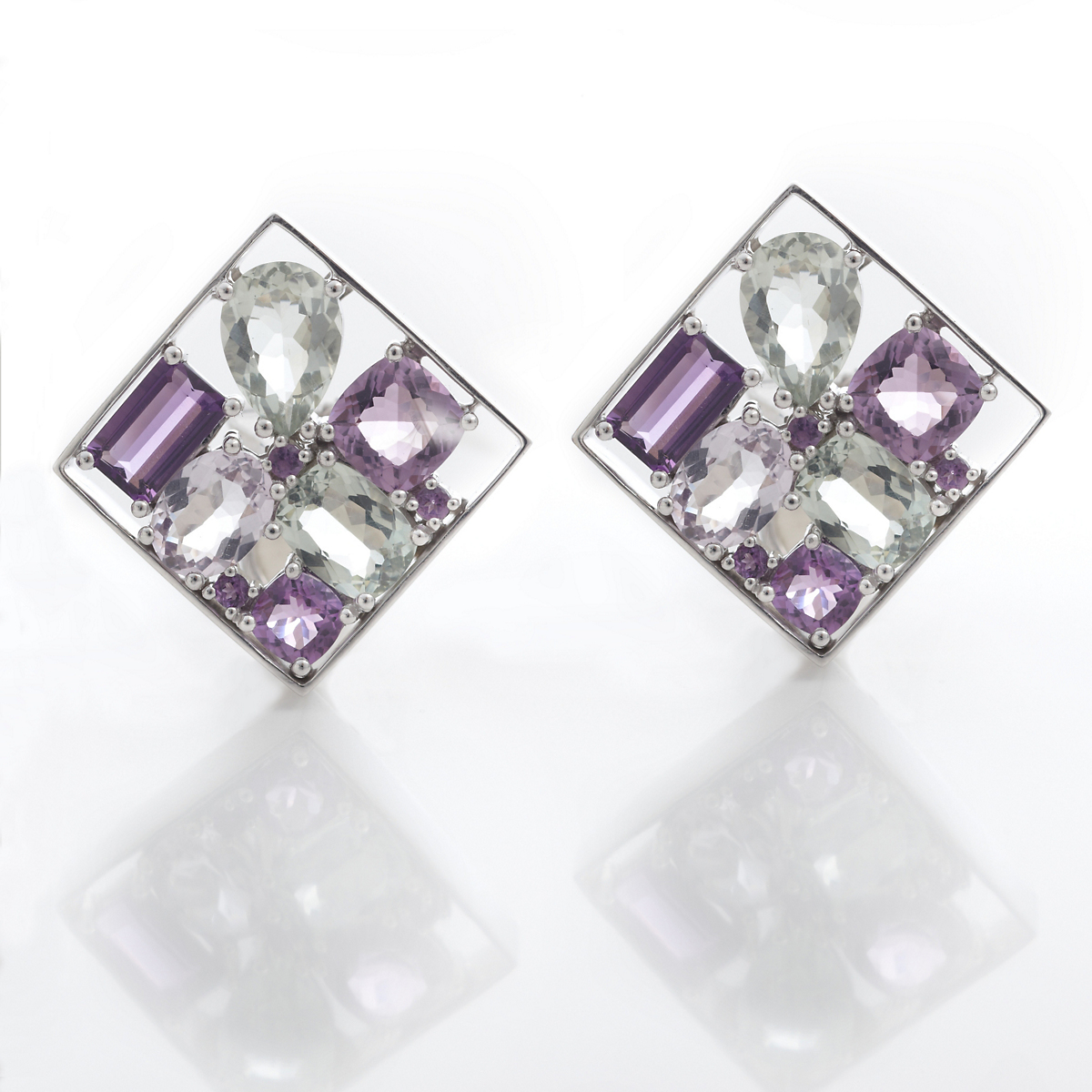 Gump's Amethyst & Green Quartz Silver Earrings