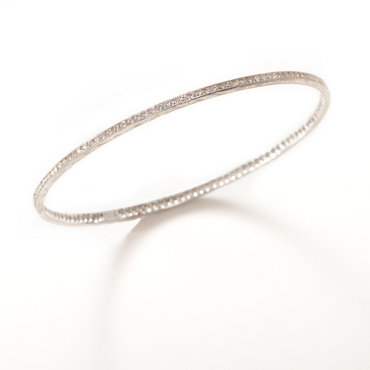 Sethi Couture White Diamond & White Gold Bangle