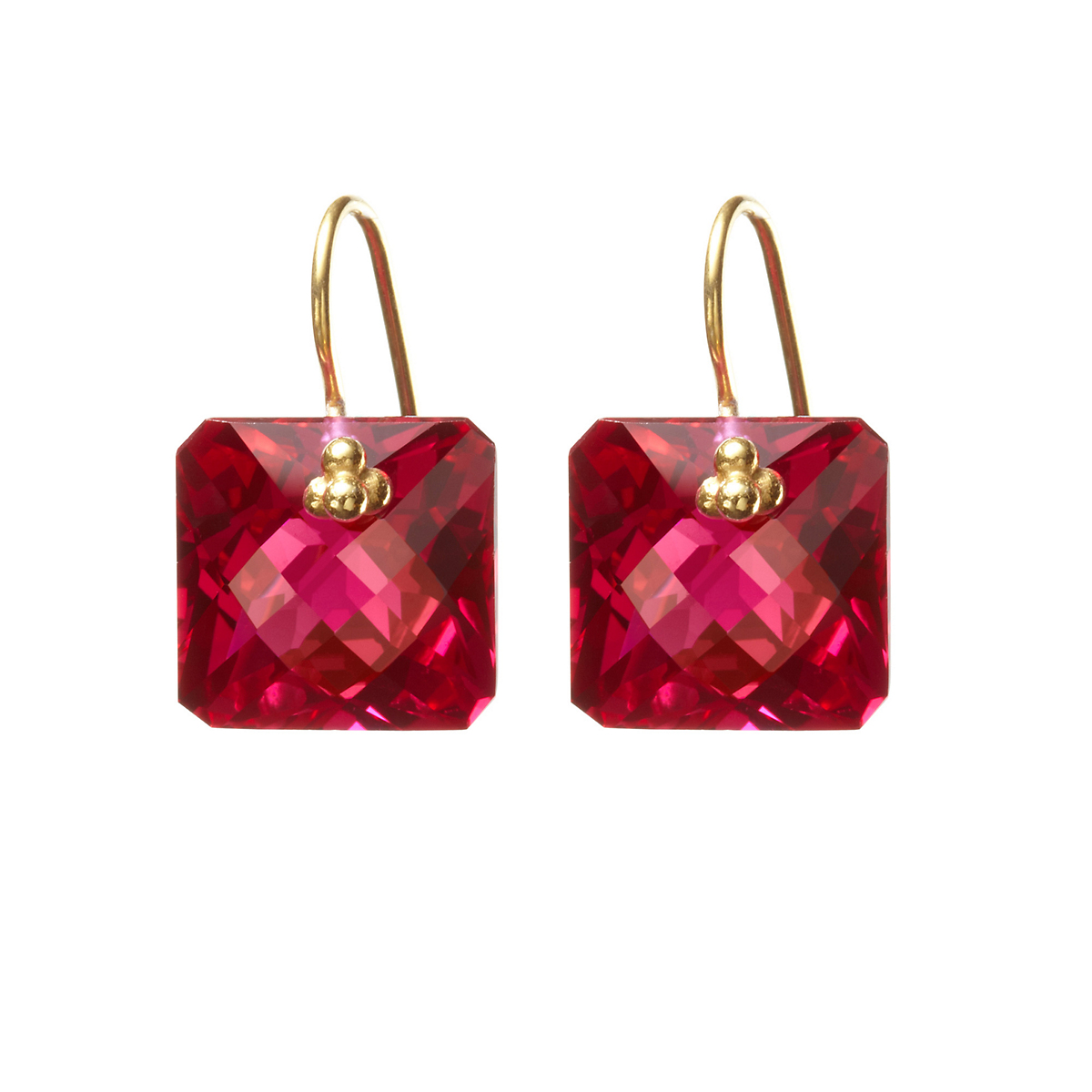 Nikki Baker Red Topaz Asscher Drop Earrings