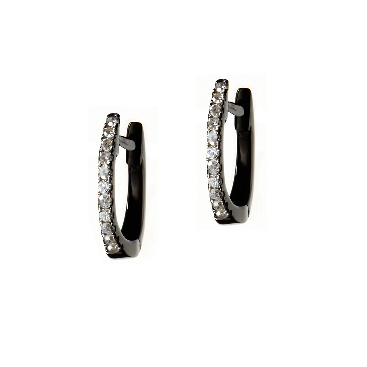Nikki Baker Lusso Black Gold & Diamond Mini Hoop Earrings