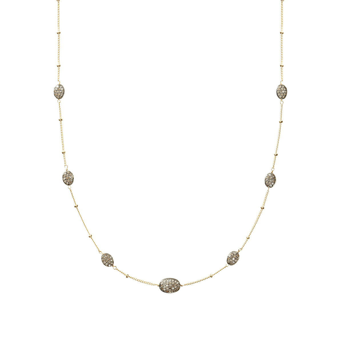 Nikki Baker Lusso Diamond Bean Station Necklace