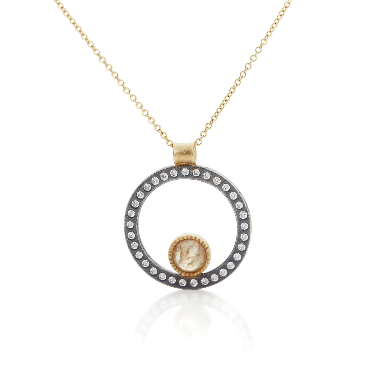 Todd Reed Gold & Oxidized Silver Diamond Pendant Necklace