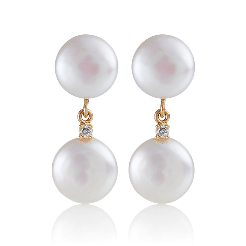 Gump's Double Coin Drop Pearl Earrings