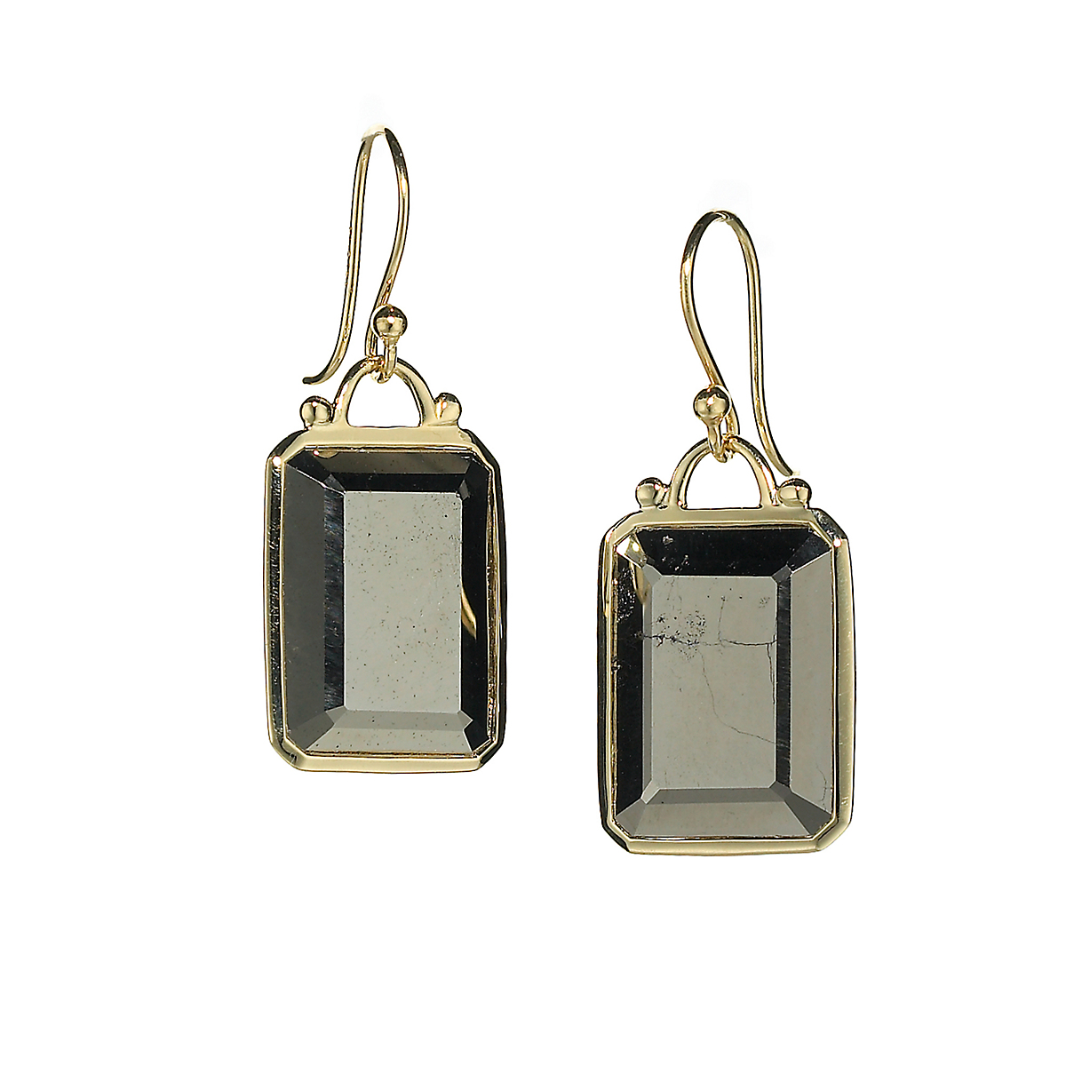 Elizabeth Showers Pyrite Deco Earrings