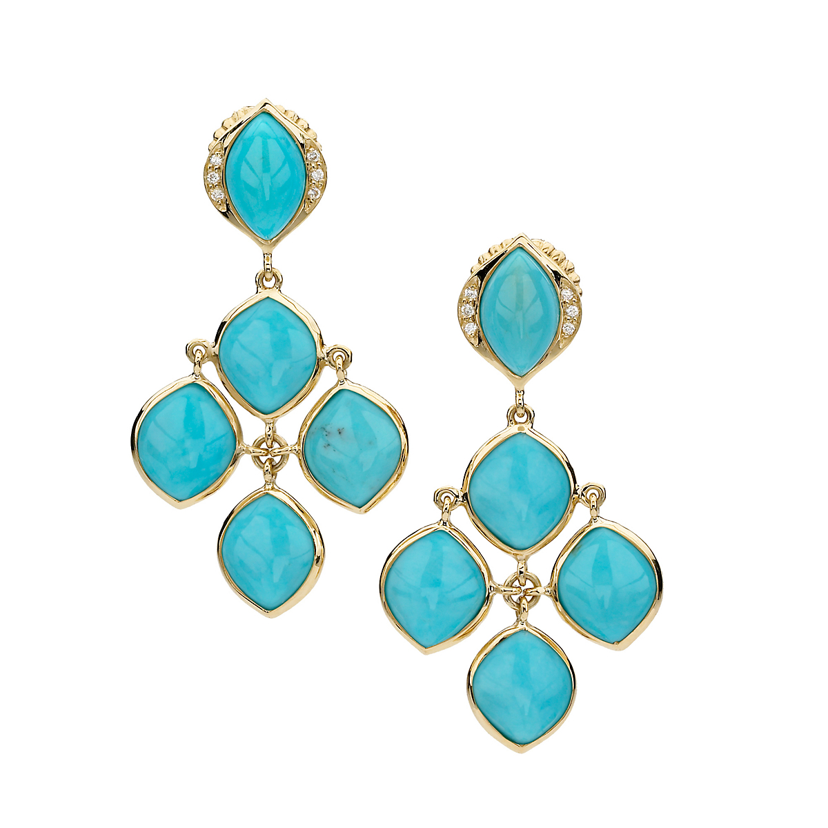 Elizabeth Showers Turquoise & Diamond Chandelier Earrings