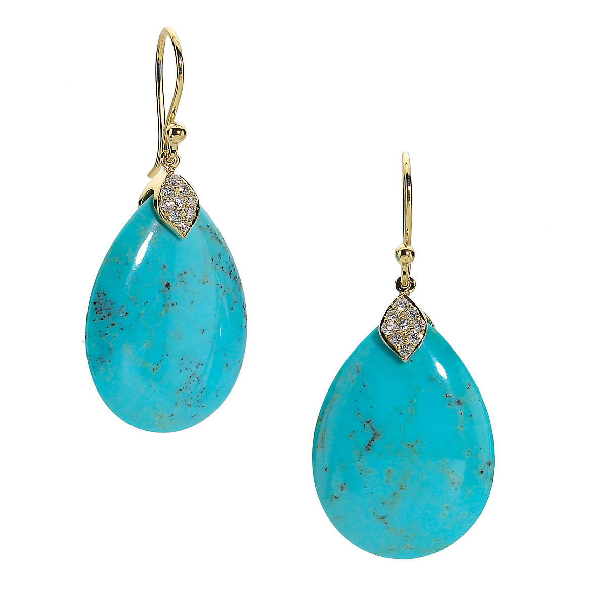 Elizabeth Showers Turquoise Teardrop & Pavé Diamond Earrings