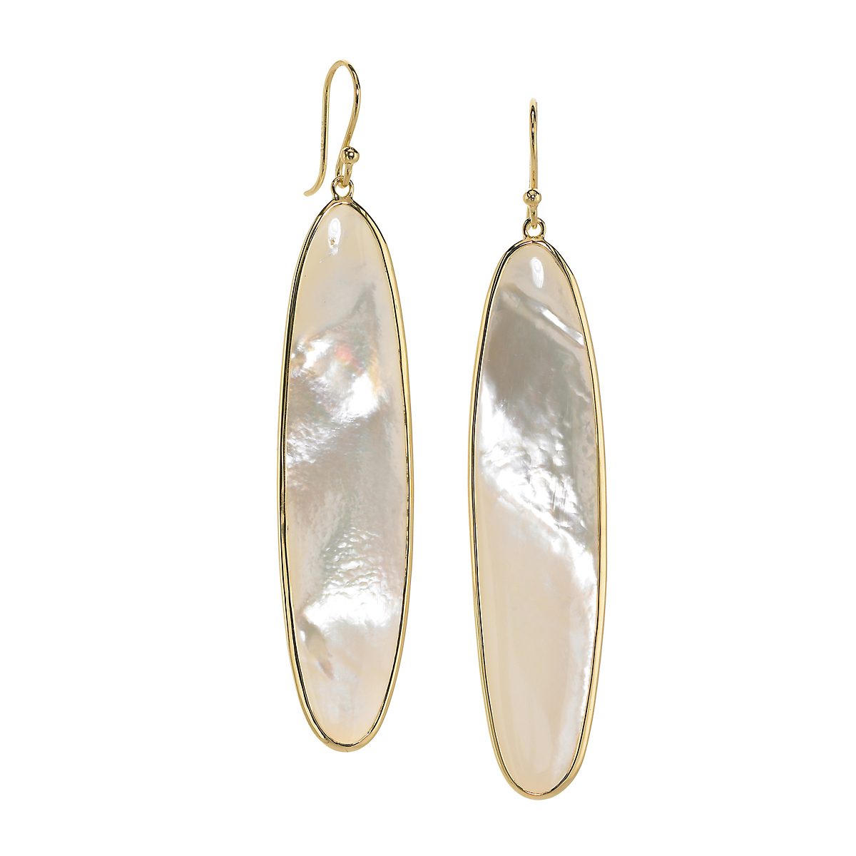 Elizabeth Showers Mother of Pearl Long Oval Earrings