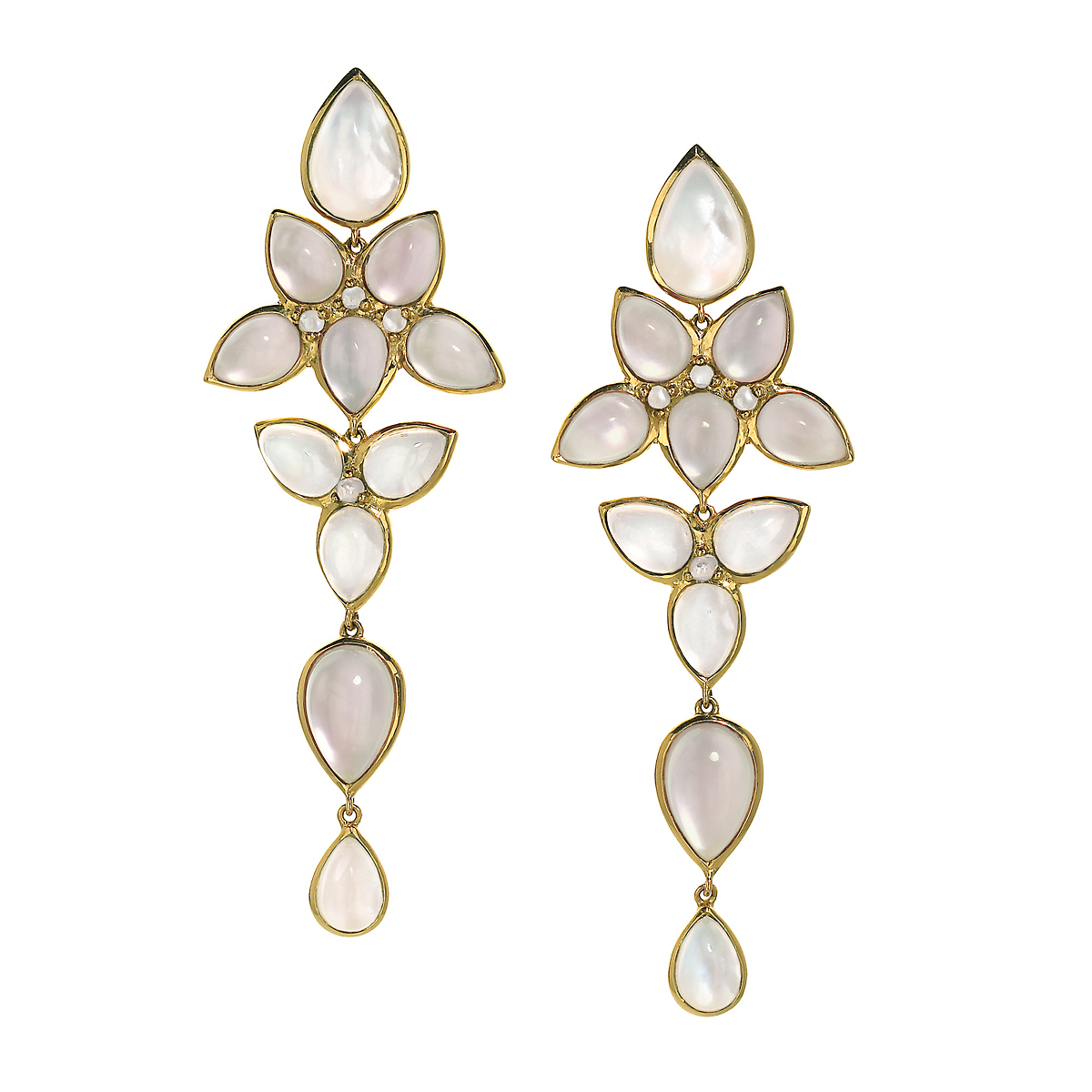 Elizabeth Showers Milky Quartz Over Mother of Pearl Mariposa Chandelier Earrings