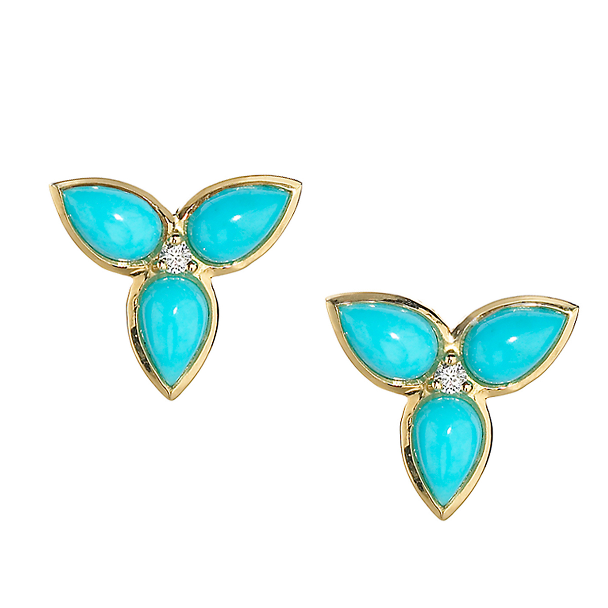 Elizabeth Showers Turquoise & Diamond Mini Mariposa Earrings