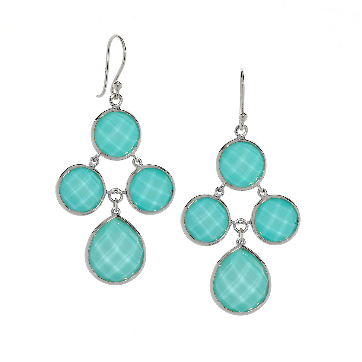 Elizabeth Showers White Quartz Over Turquoise Chandelier Earrings