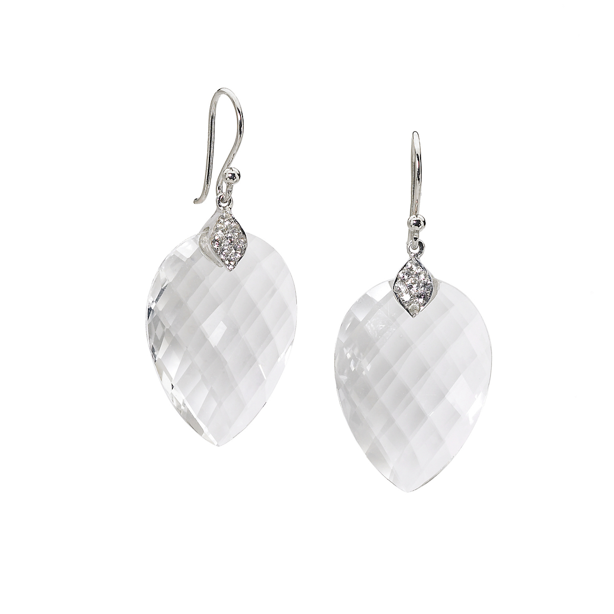 Elizabeth Showers White Quartz & Sapphire Susanna Drop Earrings