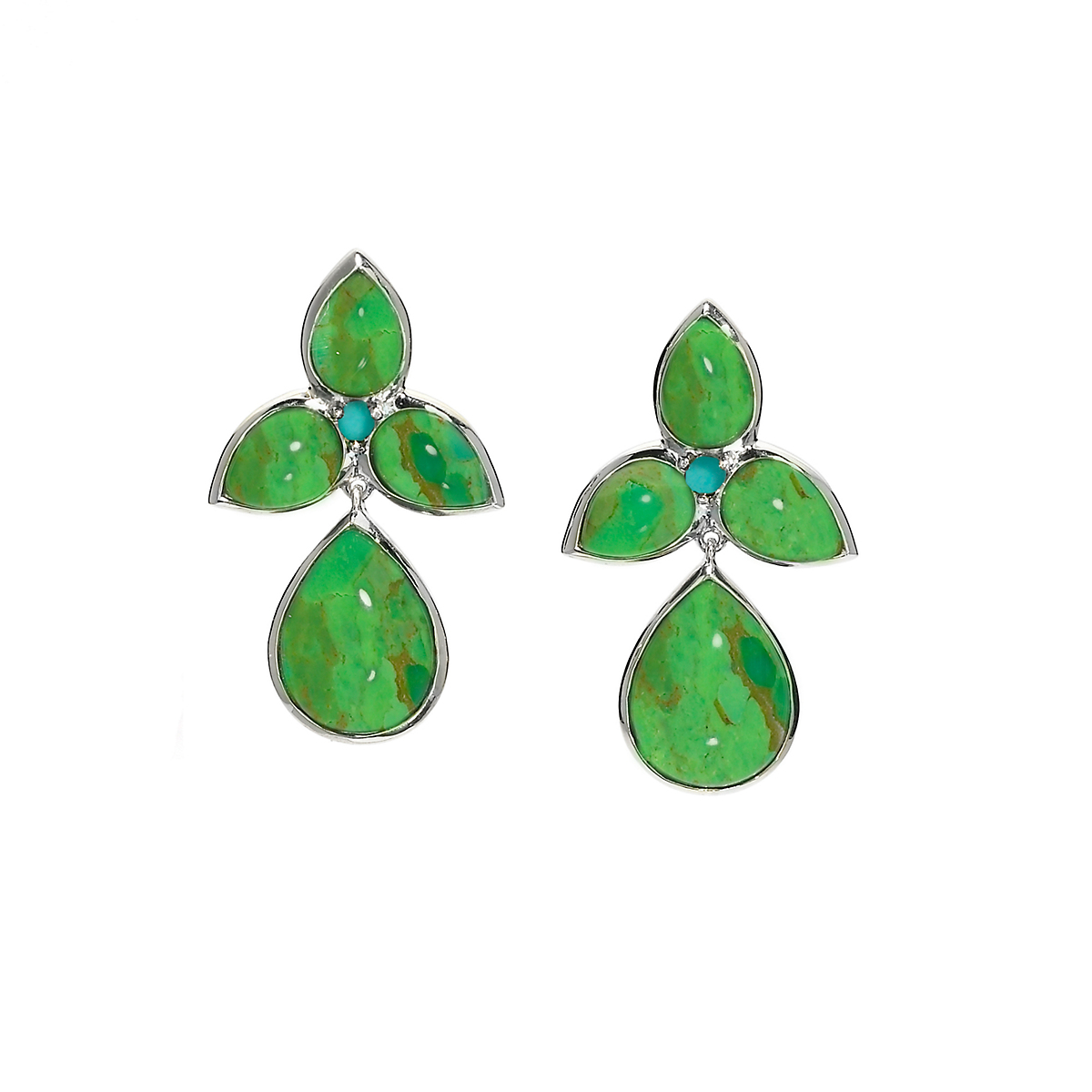 Elizabeth Showers Green & Blue Turquoise Mariposa Teardrop Earrings