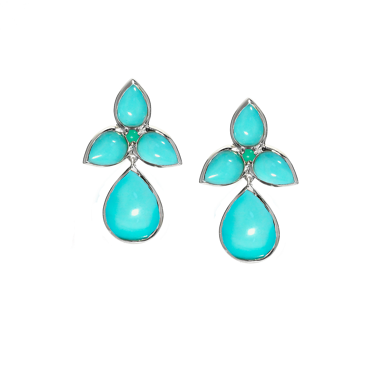 Elizabeth Showers Turquoise & Chrysoprase Mariposa Teardrop Earrings