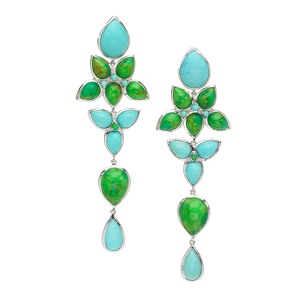 Elizabeth Showers Green & Blue Turquoise Long Mariposa Teardrop Earrings
