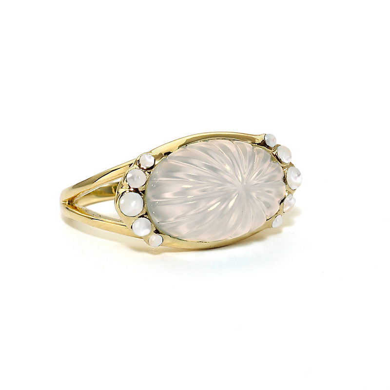 Elizabeth Showers Milky Quartz Over Mother of Pearl Oval Ring