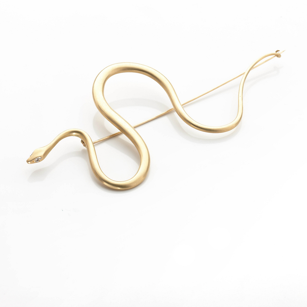Gabriella Kiss Large Gold Spiral Snake Brooch