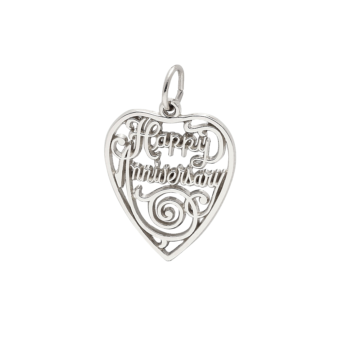 Silver Happy Anniversary Charm