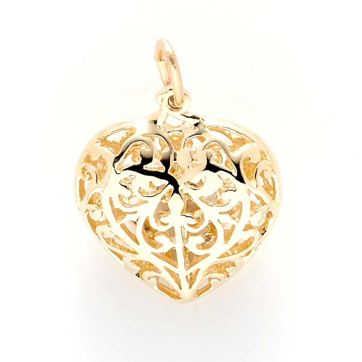 Gold Filigree Heart Charm