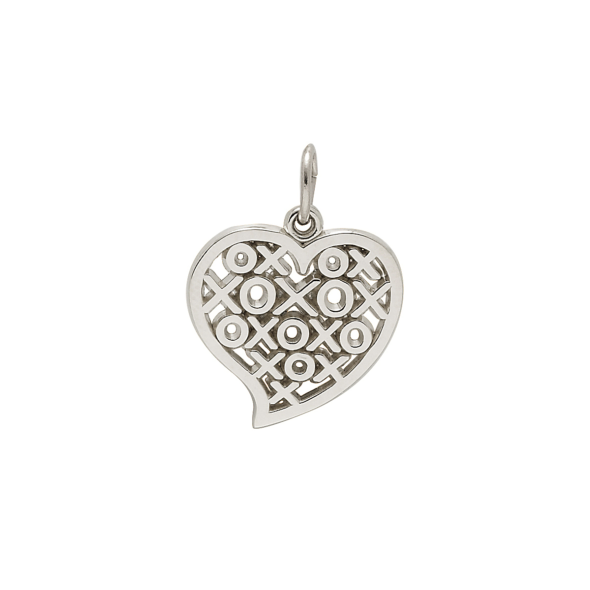 Silver Hugs & Kisses Heart Charm
