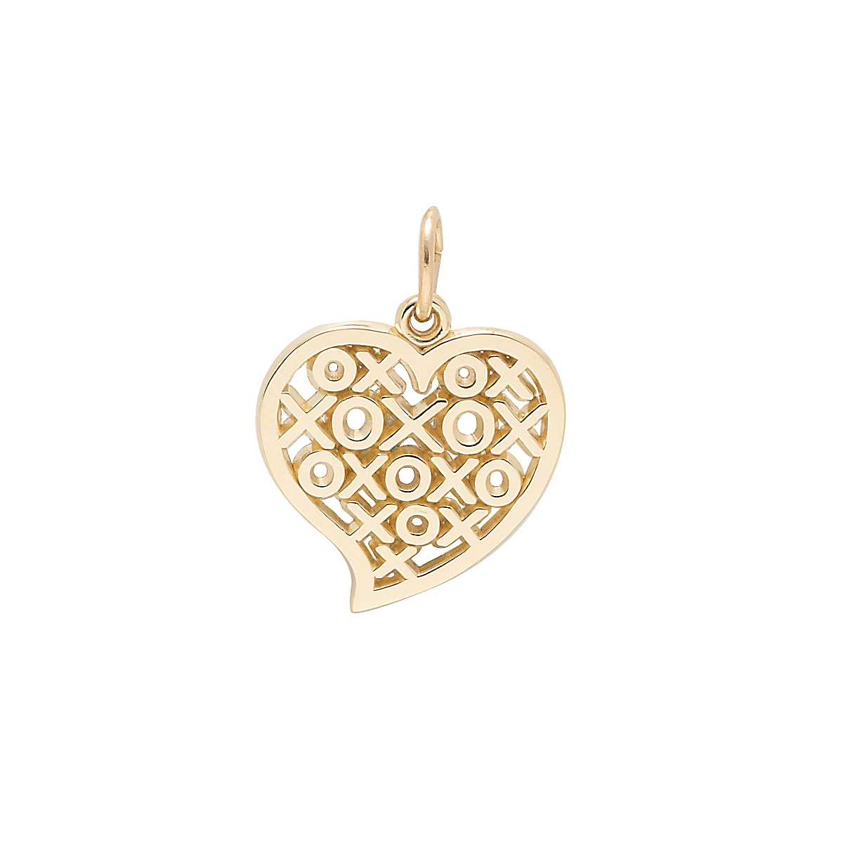 Gold Hugs & Kisses Heart Charm