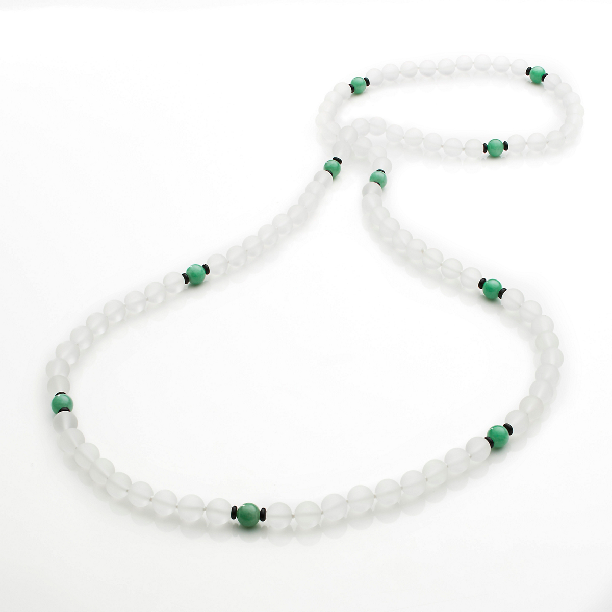 Gump's Frosted Rock Crystal & Green Jade Rope